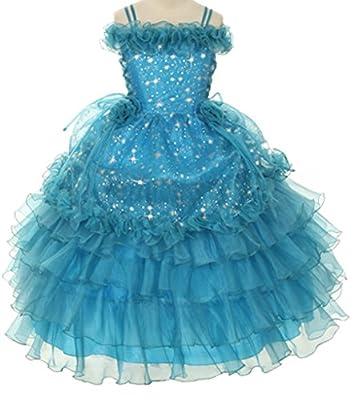 Star Printed Organza Ruffle Layered Big Girls' Girl Dress Pageant Princess