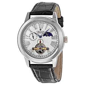 Croton Automatic White Dial Stainless Steel Black Leather Mens Watch CI331070BSKB