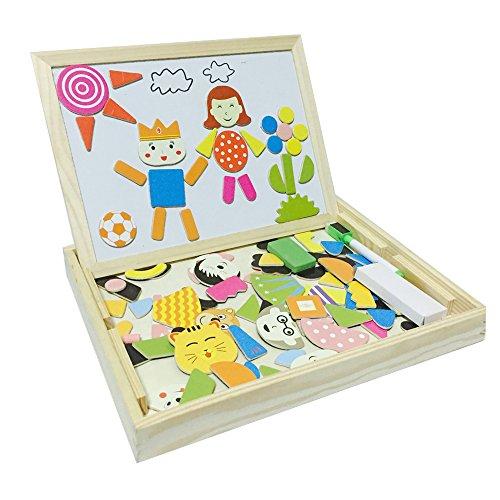 Tribe Giocattoli in Legno Puzzle Magnetica Stile Scuola Lavagna 2 in 1 Educativi Jigsaw Costruzioni Giochi e Gioco da Tavolo per Bambini Bambino Bimba da 3 4 5 Anni, Consegna Casuale