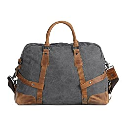 Wonder Youth Travel Duffel Large Totes Weekend Bag Canvas Leather Trim - Grey