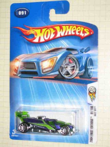 2004 - Mattel - Hot Wheels - #091 - Model C2751 - First Editions 91/100 - Buzz Off - Purple & Green - New - OOP - Collectible