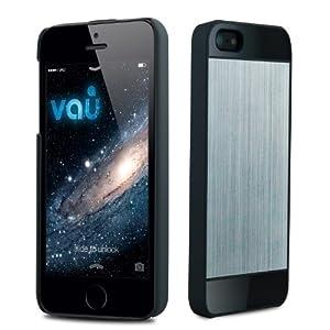 vau BackShield - space silver - Hülle, Hard-Case mit Metallapplikation für Apple iPhone 5 & iPhone 5S