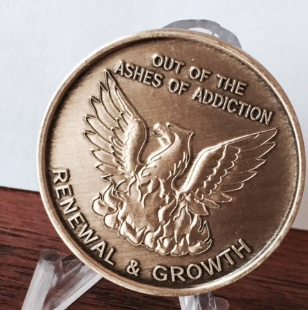 Out of the Ashes-Bronze AA Alcoholics Anonymous-ACA-AL-ANON- Sober-Sobriety-Recovery-Medallion-Coin-Chip