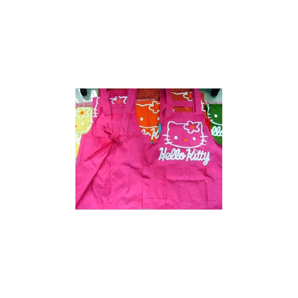 Hot Pink Hello Kitty Head Home Kitchen Chef Apron Strap plus 2 rubber eraser gift