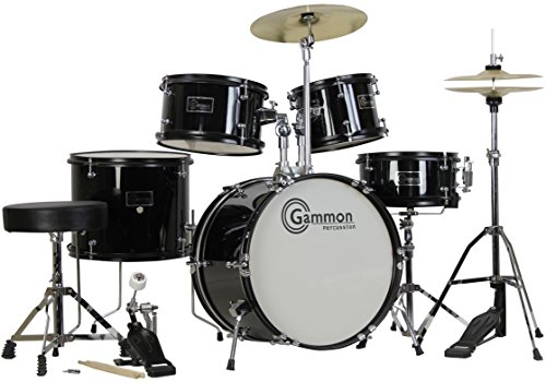 Complete 5-Piece Black Junior Drum Set with Cymbals Stands Sticks Hardware &...