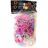 GLOW IN THE DARK LOOM BANDS FOR RAINBOW LOOM WITH S CLIPS 300 BANDS