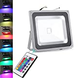 1Pcs 50W RGB IP65 Spotlight Lamp Outdoor LED Floodlights IR Remote Control