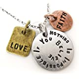 Nothing Is Impossible If You Believe Three Tone Antique Stamped Pendant Charm Necklace