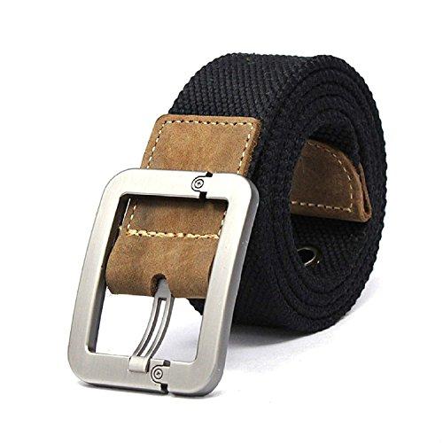 Tailcas® Cintura da uomo in Tessuto Tela tempo libero Adjustable Weave Web Waist Belt Waistband Cintura con Pin Buckle- (Nero)