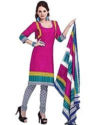 HIFI Ethnicwear Women's Dress Material(HIFI 3206_Pink_Free Size)