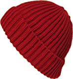 Alkii Premium Cuffed thick mens/womens warm beanie snowboarding winter hats - Red
