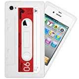 IGloo Premium: Retro Cassette Tape Silicone Skin Case Cover for Apple iPhone 4 / 4G / 4S - White