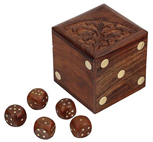 Artigianale box dadi e 5 dadi impostare puzzle in legno giocattoli e giochi di dadi - gioco di dadi per bambini e adulti -6.4 x 6.4 x 6.4 cm