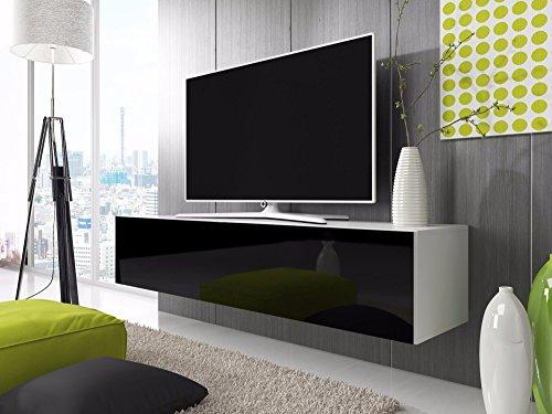 TV-Lowboard-Schrank-Simple-200-cm-wei-matt-glnzend-schwarz