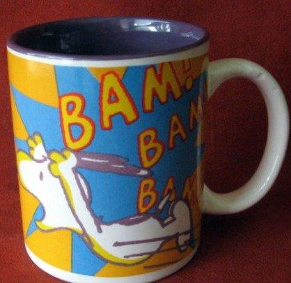 """Officially Licensed Peanuts Snoopy Ceramic Coffee Mug """"Bam! Bam! Bam!"""""""