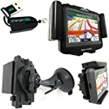 Magellan Roadmate 5045 3065 3055 3045-LM 3045-MU 3045 2045 2036-MU 2036 2035 GPS Dashboard/Windshield Mount Kit by ChargerCity w/360° Viewing GPS Holder Cradle, Suction Cup Mount, Dashboard Disk & Micro SD USB Card Reader (ChargerCity® Manufacture Replacement Warranty)