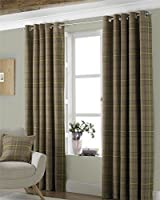 "Tartan Check Woven Wool Look Green Lined 66"" X 90"" - 168cm X 229cm Ring Top Curtains from Curtains"