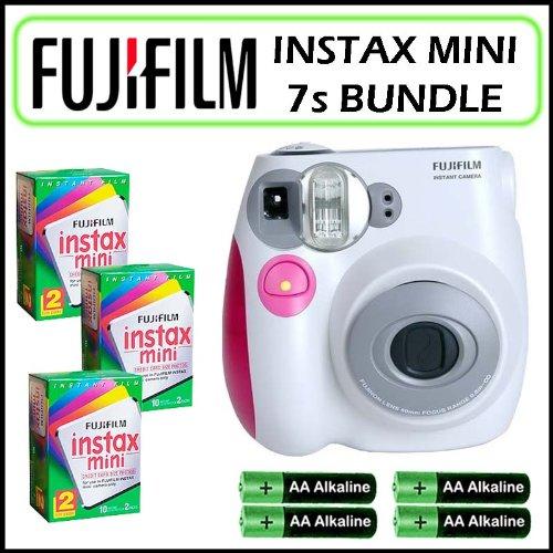 Fuji Instax Mini 7s Instant Film Camera in Pink/White and 3 Fuji Instax Mini Twin Pack Film Bundle