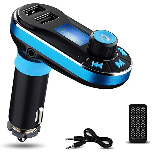 Bluetooth MP3 Player, Yokkao® FM Transmitter Bluetooth Car Kit Charger Hand-free Support Dual USB Ports/ SD Card/ USB Driver/ AUX Input with Remote Control (Blue)