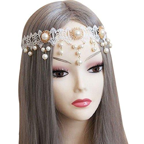 Easygoby Princess Handmade Pearl Lace Hair Band Headband-White