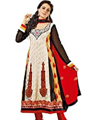 Prafful Faux Georgette Anarkali Suit (S-1473_Off White-Black_Free Size)