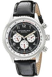 Stuhrling Original Men's 858L.01 Octane Concorso Silhouette Swiss Quartz Multi function Watch with Black Croc-Textured Leather Band