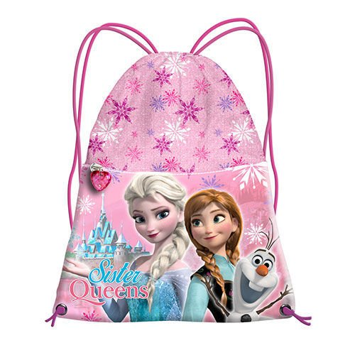 Zaino zainetto a sacco Disney FROZEN Anna Elsa Olaf stampa glitterata