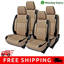 Autofact Brand PU Leatherite Car Seat Covers for Maruti Car 800 Old Model in Beige and Black
