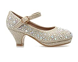 Forever Dana-58k Kids Mid Heel Rhinestone Pretty Sandal Mary Jane Platform Dress Pumps (4, Champagn)