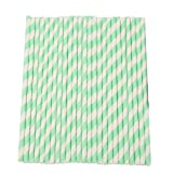 Vktech 25Pcs Colorful Striped Paper Drinking Straws for Party Wedding Supplies (Light Green and White)