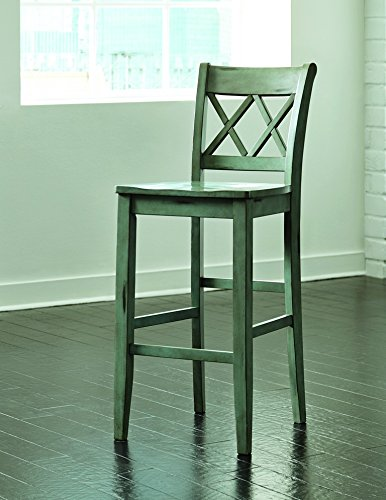 Signature Design by Ashley D540-130 Vintage Casual Pub Height Barstool, Blue/Green, Pub Height (Set of 2) 1