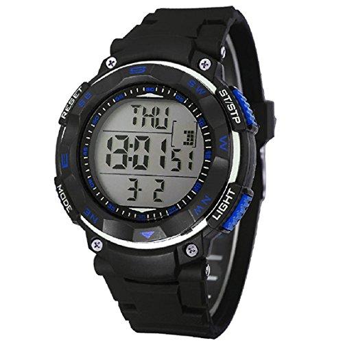 Zps(Tm) Men Waterproof Digital Alarm Chronograph Led Silicone Sport Wrist Watch (Blue)