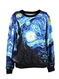 LoveLiness Van Gogh's Starry Night Calico Patterns Print Sweatshirt Sweaters (One Size, Multicolor)