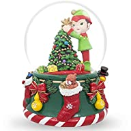 6″ Elf Decorating Christmas Tree with Ornaments Musical Box Water Snow Globe