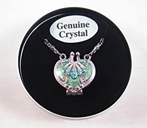 Heart Shaped Locket Necklace with Genuine Crystals in a Tin Gift Box