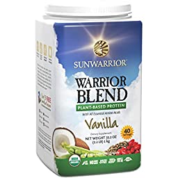 Sunwarrior - Warrior Blend, Raw, Plant-Based Protein, Vanilla, 40 Servings (2.2 lbs)