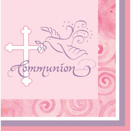 Creative Converting Faithful Dove Cross Communion Beverage Napkins, Pink, 16 Count