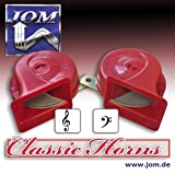 Air horn / fanfare, 12V 110 dB, 9 cm, 2-tone high and low sound, red and certified!