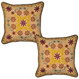 Ethnic Thread Embroidered Handmade Cotton Cushion Cover 17 Inches 2 Pcs