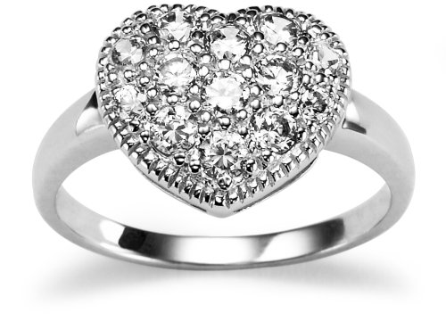 Sterling Silver Cubic Zirconia Heart Ring, Size 8