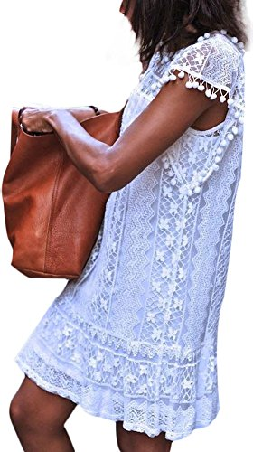 EachWell White CrewNeck Sleeveless Crochet Hollow Out Lace Mini Dress T-shirt(US M,Tag L)