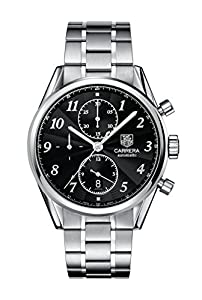 TAG Heuer Men's CAS2110.BA0730 Carrera Black Dial Chronograph Steel Watch