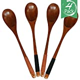 4pcs Good Grips Handmade Natural Wooden Soup Cooking Spoons,material of Nanmu,9in(002)