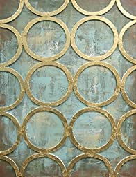 Art Canvas 3D Gold Rings On Aqua Awesome Effect Huge 30 x 39 Inches