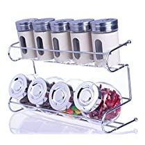 9 Canister Metal & Glass Spice Shakers Glass Jars 2 Tier Wire Rack Display White