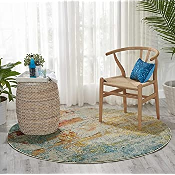 """Nourison Celestial (CES02) Modern Abstract Area Rug, 53"""" Round, Multicolor Grey"""