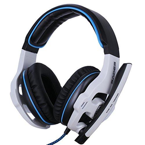 GHB SADES SA-903 Casque Micro PC Casque USB 7.1 Son Ecouteur Blanc-Bleu