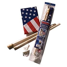 Valley Forge 2-1/2-Foot x 4-Foot Polycotton 2-Piece Wood Pole U.S. Flag Kit