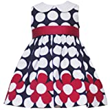 Rare Editions Baby/Infant Girls 12M-24M NAVY-BLUE WHITE POLKA DOT FLORAL BORDER Special Occasion Flower Girl Birthday Party Dress-12M RRE-36091E-E136091