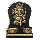 Archies Polyresin Ganesha Candle Holder (Gold,12 Cm X 7.5 Cm X 16 Cm )